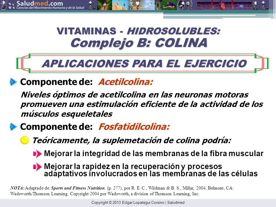 Copyright © 2013 Edgar Lopategui Corsino | Saludmed NOTA: Adaptado de: Sports and Fitness Nutrition. (p. 277), por R. E. C., Wildman & B. S., Millar,