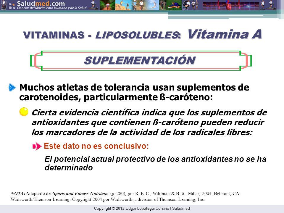 Copyright © 2013 Edgar Lopategui Corsino | Saludmed NOTA: Adaptado de: Sports and Fitness Nutrition. (p. 280), por R. E. C., Wildman & B. S., Millar,