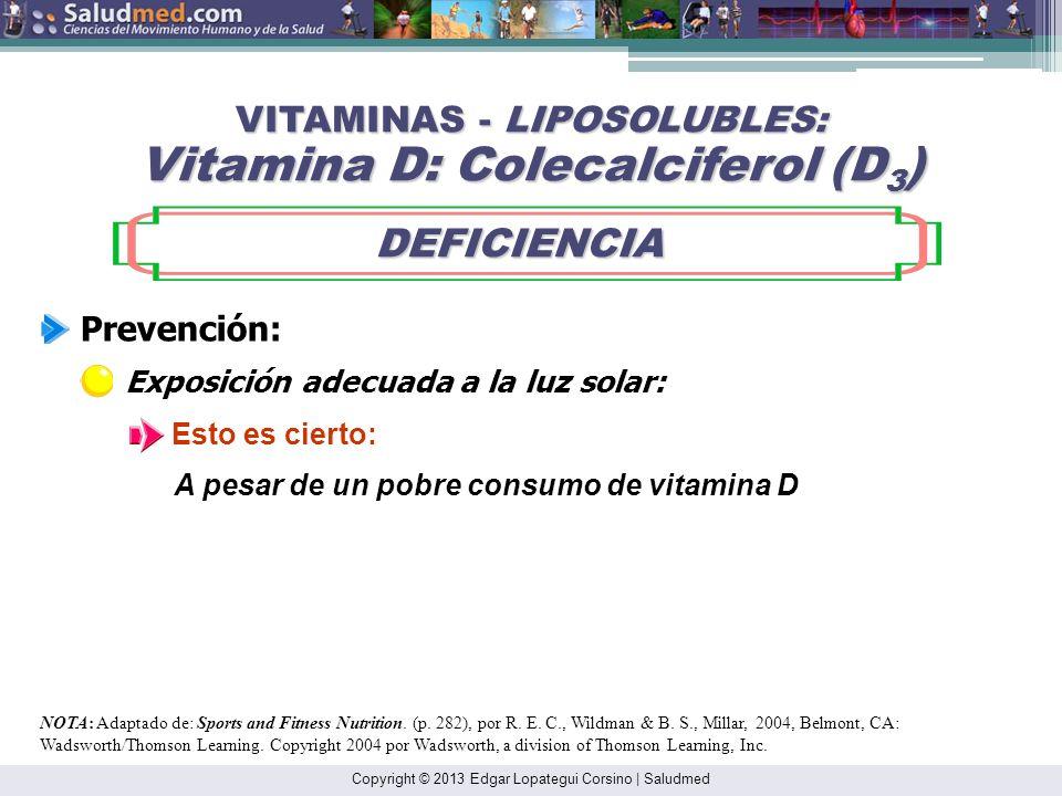 Copyright © 2013 Edgar Lopategui Corsino | Saludmed NOTA: Adaptado de: Sports and Fitness Nutrition. (p. 282), por R. E. C., Wildman & B. S., Millar,