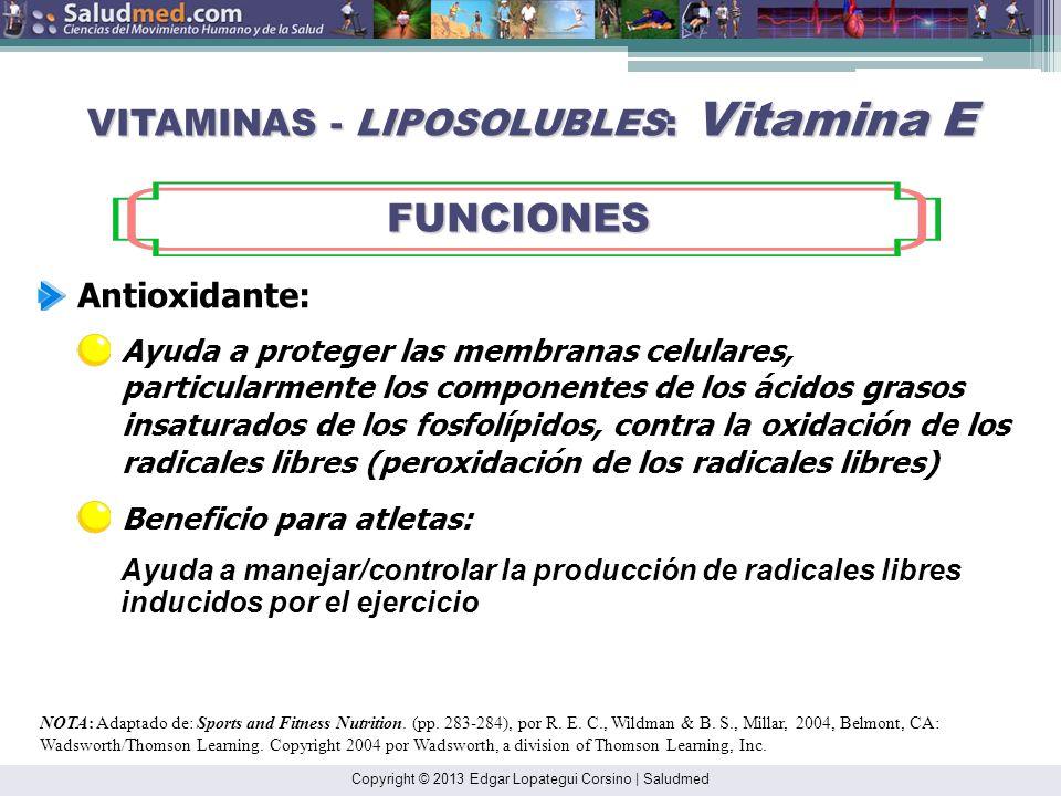 Copyright © 2013 Edgar Lopategui Corsino | Saludmed NOTA: Adaptado de: Sports and Fitness Nutrition. (pp. 282-284), por R. E. C., Wildman & B. S., Mil