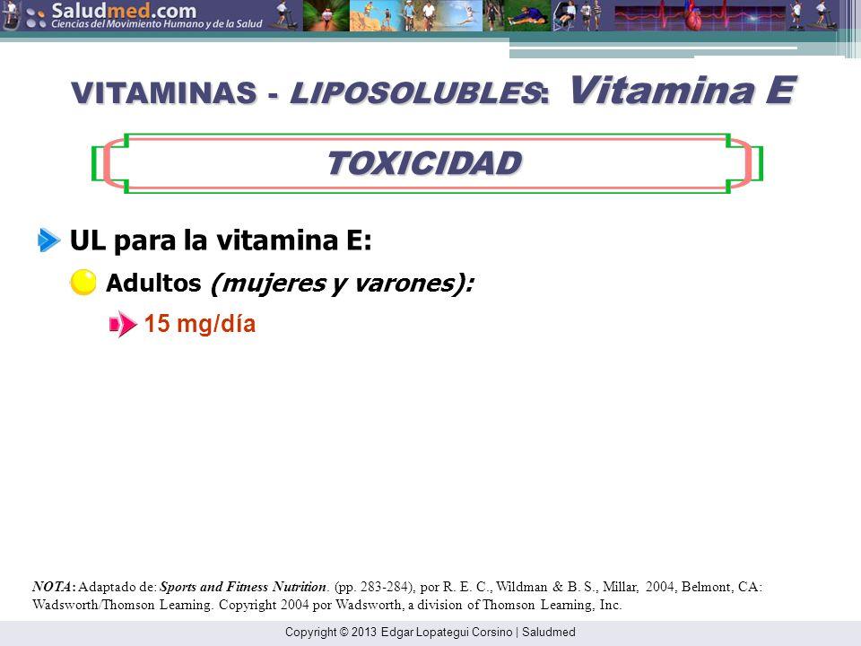 Copyright © 2013 Edgar Lopategui Corsino   Saludmed NOTA: Adaptado de: Sports and Fitness Nutrition. (pp. 283-284), por R. E. C., Wildman & B. S., Mil
