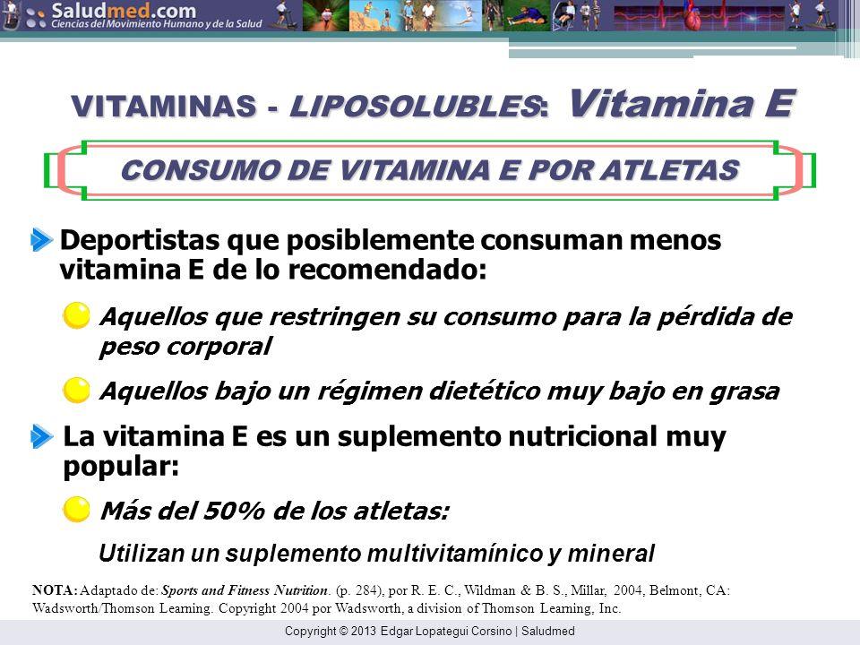 Copyright © 2013 Edgar Lopategui Corsino | Saludmed NOTA: Adaptado de: Sports and Fitness Nutrition. (p. 284), por R. E. C., Wildman & B. S., Millar,