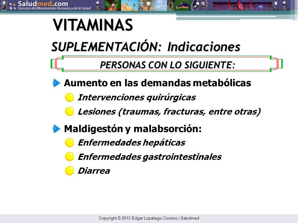 Copyright © 2013 Edgar Lopategui Corsino | Saludmed VITAMINAS Consumo inadecuado de alimentos: Aumento en los requisitos de nutrientes: SUPLEMENTACIÓN