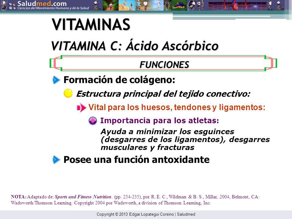 Copyright © 2013 Edgar Lopategui Corsino | Saludmed VITAMINAS VITAMINA C: Ácido Ascórbico NOTA: Adaptado de: Sports and Fitness Nutrition. (p. 254), p