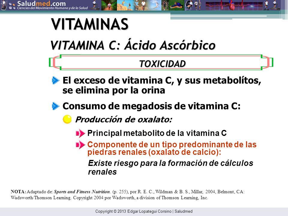 Copyright © 2013 Edgar Lopategui Corsino | Saludmed VITAMINAS VITAMINA C: Ácido Ascórbico NOTA: Adaptado de: Sports and Fitness Nutrition. (p. 255), p