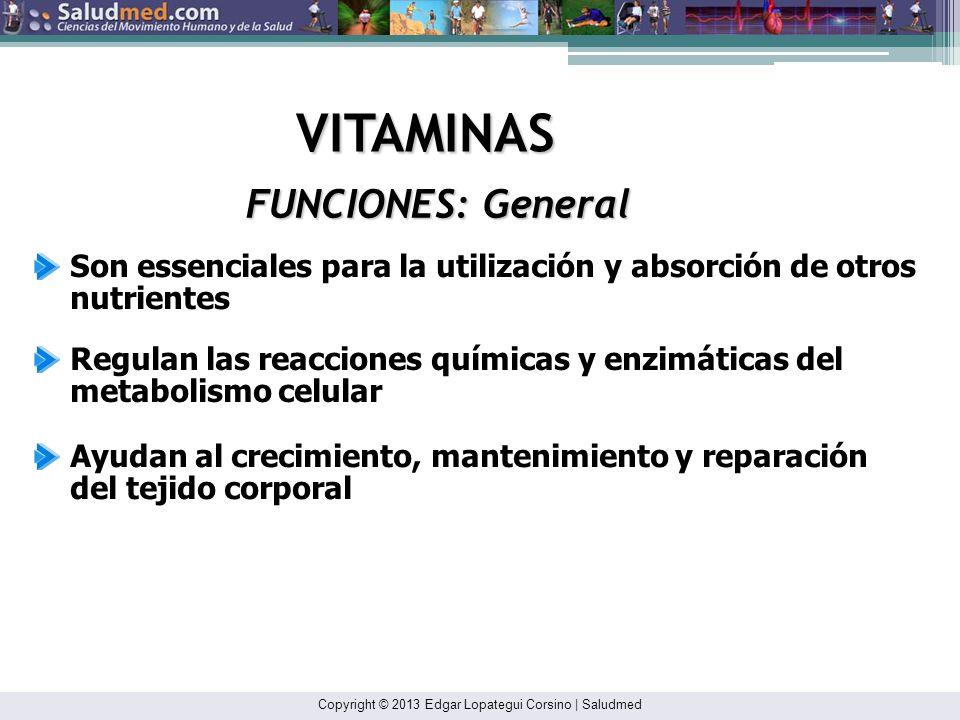 Copyright © 2013 Edgar Lopategui Corsino | Saludmed VITAMINAS TIAMINA: Vitamina B 1 La tiamina transportada en la sangre se une principalmente a las proteínas y dentro de los los glóbulos rojos NOTA: Adaptado de: Sports and Fitness Nutrition.