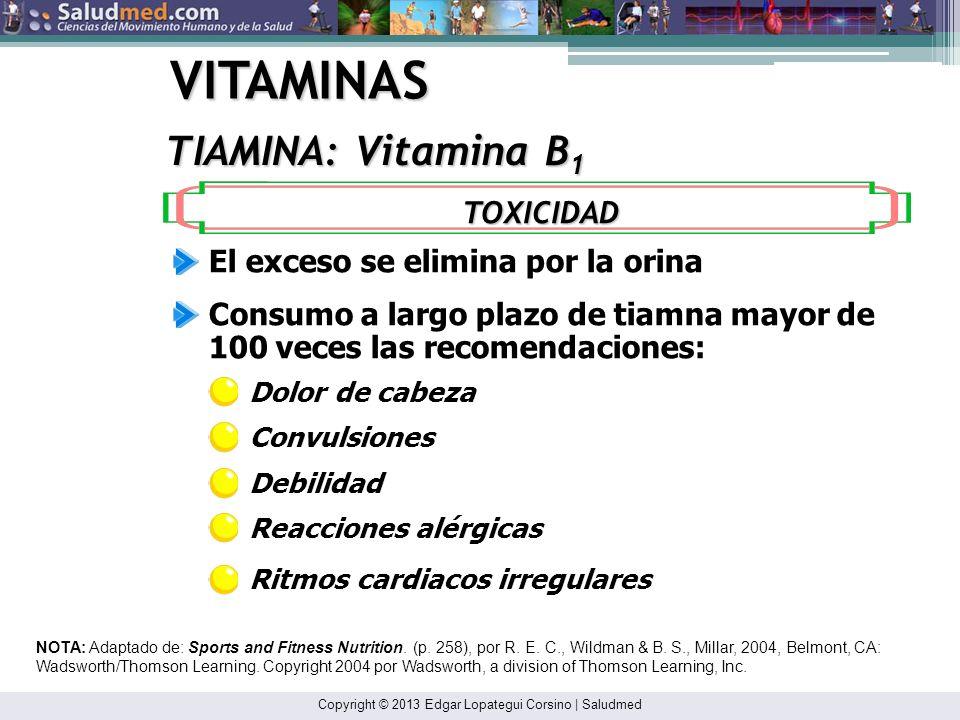 Copyright © 2013 Edgar Lopategui Corsino | Saludmed VITAMINAS TIAMINA: Vitamina B 1 NOTA: Adaptado de: Sports and Fitness Nutrition. (p. 258), por R.
