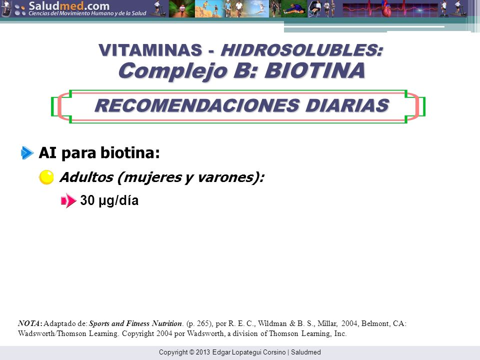 Copyright © 2013 Edgar Lopategui Corsino | Saludmed NOTA: Adaptado de: Sports and Fitness Nutrition. (pp. 265-266), por R. E. C., Wildman & B. S., Mil