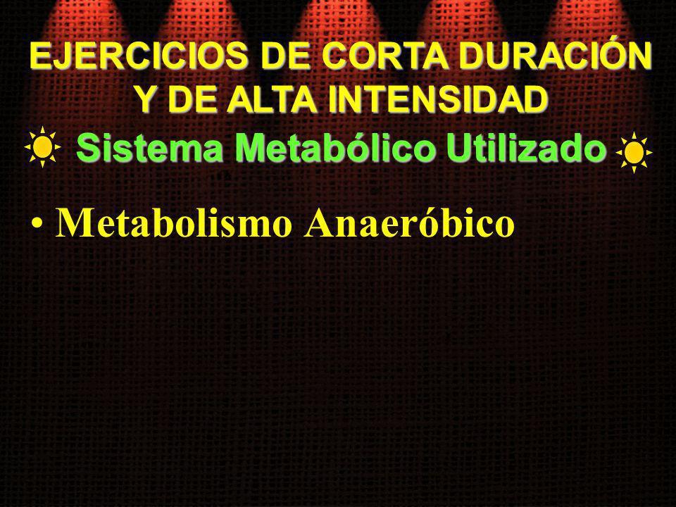 EJERCICIOS DE CORTA DURACIÓN Y DE ALTA INTENSIDAD Metabolismo Anaeróbico Sistema Metabólico Utilizado