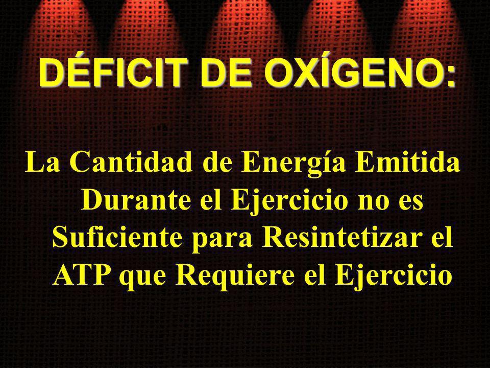 DÉFICIT DE OXÍGENO: La Cantidad de Energía Emitida Durante el Ejercicio no es Suficiente para Resintetizar el ATP que Requiere el Ejercicio