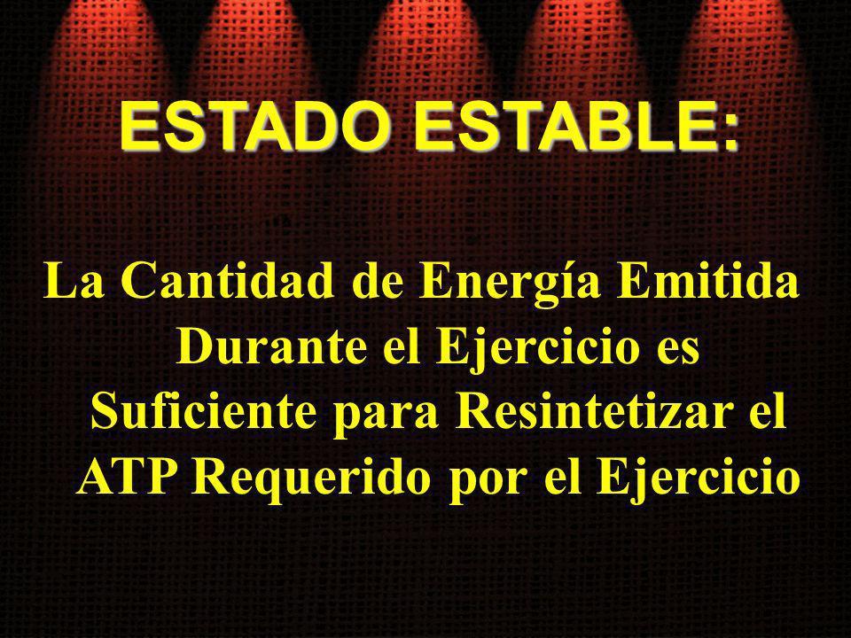 ESTADO ESTABLE: La Cantidad de Energía Emitida Durante el Ejercicio es Suficiente para Resintetizar el ATP Requerido por el Ejercicio