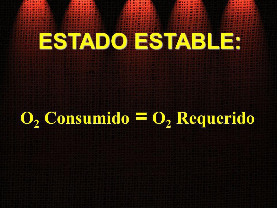ESTADO ESTABLE: O 2 Consumido = O 2 Requerido