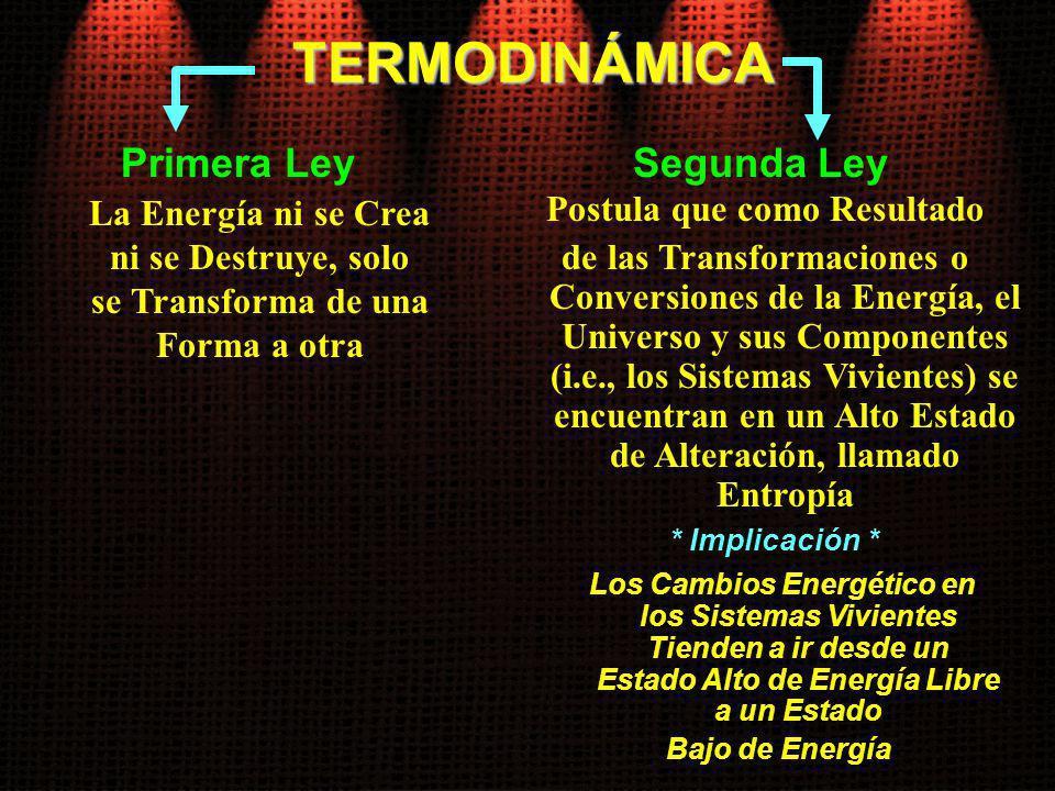 TERMODINÁMICA Primera Ley La Energía ni se Crea ni se Destruye, solo se Transforma de una Forma a otra Segunda Ley Postula que como Resultado de las T