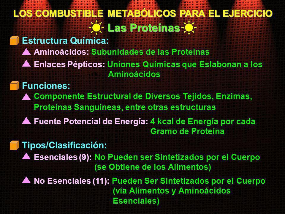 LOS COMBUSTIBLE METABÓLICOS PARA EL EJERCICIO Las Proteínas Aminoácidos: Subunidades de las Proteínas Estructura Química: Enlaces Pépticos: Uniones Qu