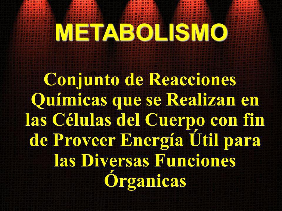 METABOLISMO Conjunto de Reacciones Químicas que se Realizan en las Células del Cuerpo con fin de Proveer Energía Útil para las Diversas Funciones Órga