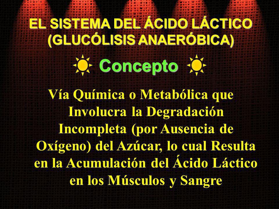 EL SISTEMA DEL ÁCIDO LÁCTICO (GLUCÓLISIS ANAERÓBICA) Vía Química o Metabólica que Involucra la Degradación Incompleta (por Ausencia de Oxígeno) del Az