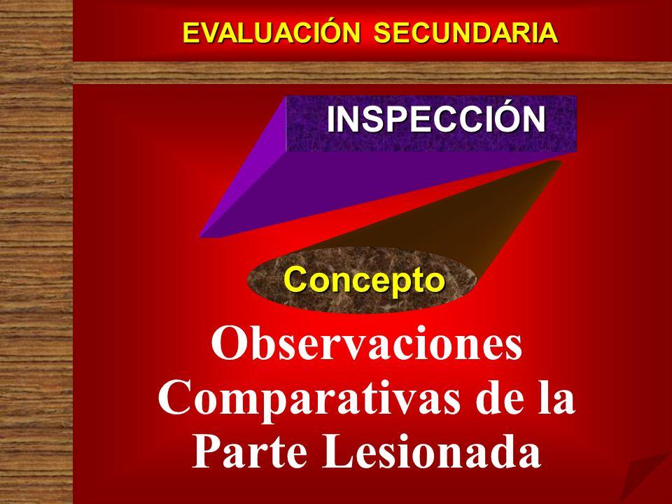 EVALUACIÓN SECUNDARIA INSPECCIÓN Concepto Observaciones Comparativas de la Parte Lesionada