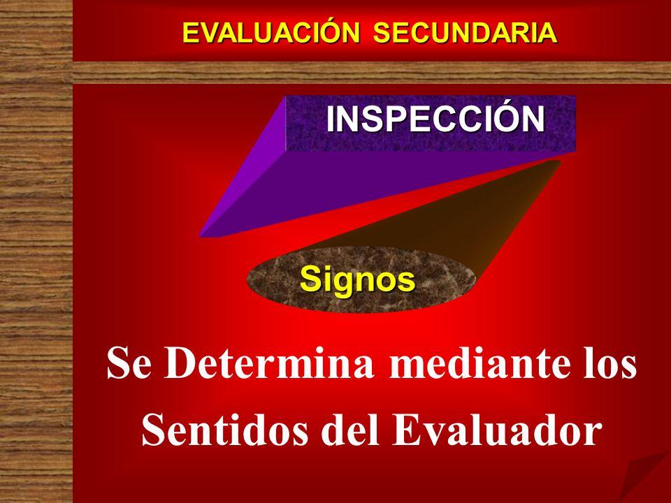 EVALUACIÓN SECUNDARIA INSPECCIÓN Signos Se Determina mediante los Sentidos del Evaluador