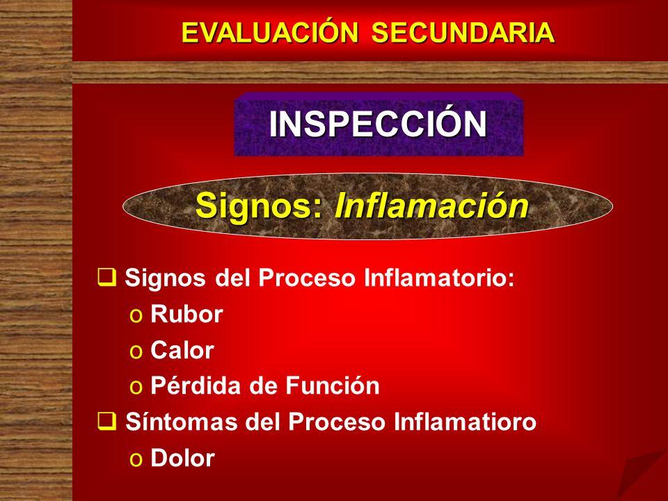 EVALUACIÓN SECUNDARIA INSPECCIÓN Signos: Inflamación Signos del Proceso Inflamatorio: o o Rubor o o Calor o o Pérdida de Función Síntomas del Proceso