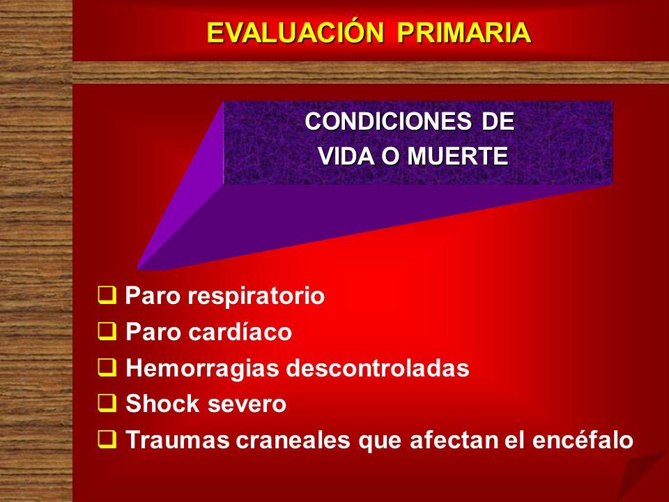 EVALUACIÓN PRIMARIA CONDICIONES DE VIDA O MUERTE VIDA O MUERTE Paro respiratorio Paro cardíaco Hemorragias descontroladas Shock severo Traumas craneal
