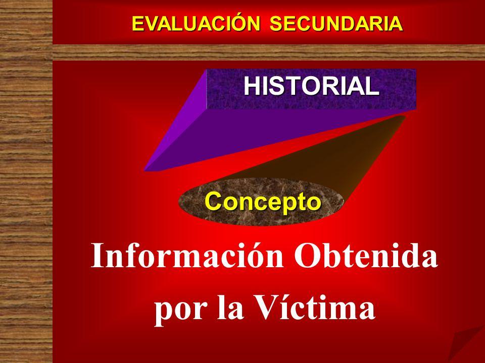 EVALUACIÓN SECUNDARIA HISTORIAL Concepto Información Obtenida por la Víctima