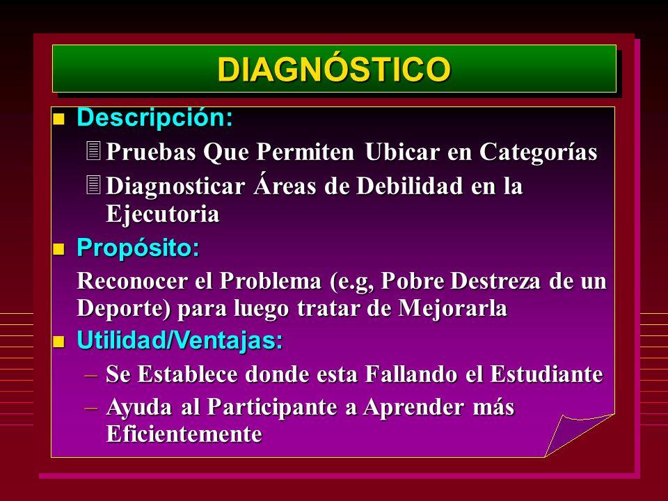 DIAGNÓSTICODIAGNÓSTICO Descripción: Descripción: 3Pruebas Que Permiten Ubicar en Categorías 3Diagnosticar Áreas de Debilidad en la Ejecutoria n Propós