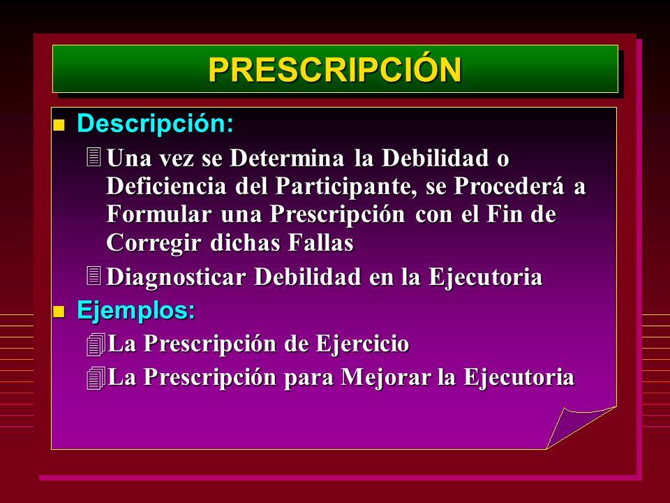 PRESCRIPCIÓNPRESCRIPCIÓN Descripción: Descripción: 3Una vez se Determina la Debilidad o Deficiencia del Participante, se Procederá a Formular una Pres