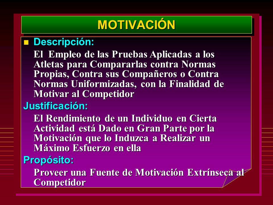 MOTIVACIÓNMOTIVACIÓN Descripción: Descripción: El Empleo de las Pruebas Aplicadas a los Atletas para Compararlas contra Normas Propias, Contra sus Com
