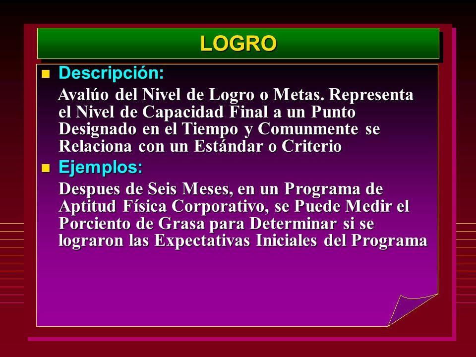 LOGROLOGRO Descripción: Descripción: Avalúo del Nivel de Logro o Metas. Representa el Nivel de Capacidad Final a un Punto Designado en el Tiempo y Com