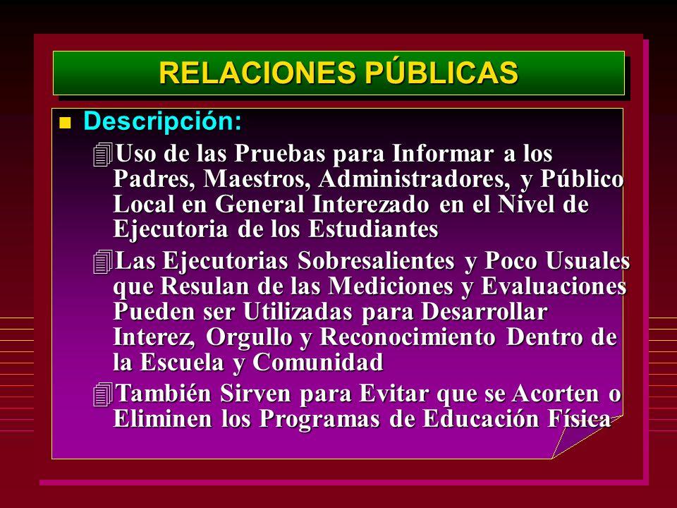 RELACIONES PÚBLICAS Descripción: Descripción: 4Uso de las Pruebas para Informar a los Padres, Maestros, Administradores, y Público Local en General In