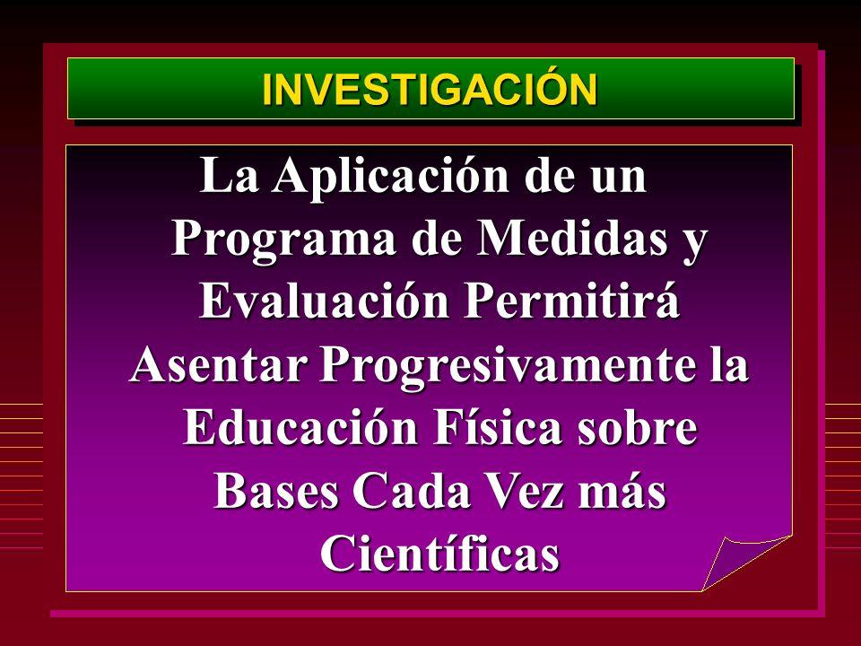 INVESTIGACIÓNINVESTIGACIÓN La Aplicación de un Programa de Medidas y Evaluación Permitirá Asentar Progresivamente la Educación Física sobre Bases Cada