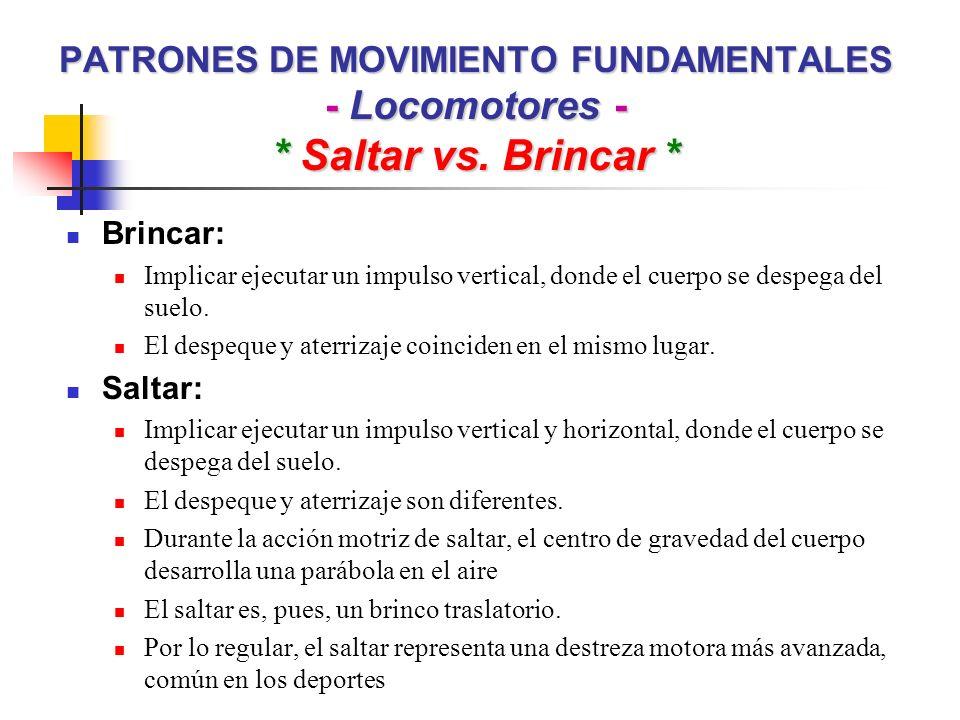 PATRONES DE MOVIMIENTO FUNDAMENTALES - Locomotores - * Saltar vs. Brincar * Brincar: Implicar ejecutar un impulso vertical, donde el cuerpo se despega