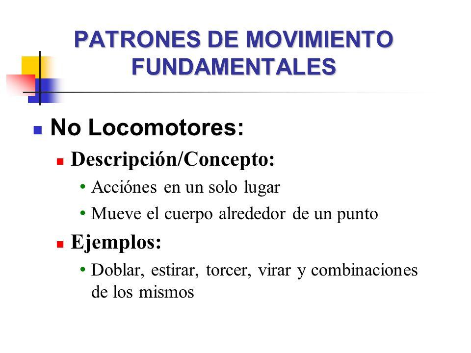 PATRONES DE MOVIMIENTO FUNDAMENTALES No Locomotores: Descripción/Concepto: Acciónes en un solo lugar Mueve el cuerpo alrededor de un punto Ejemplos: D