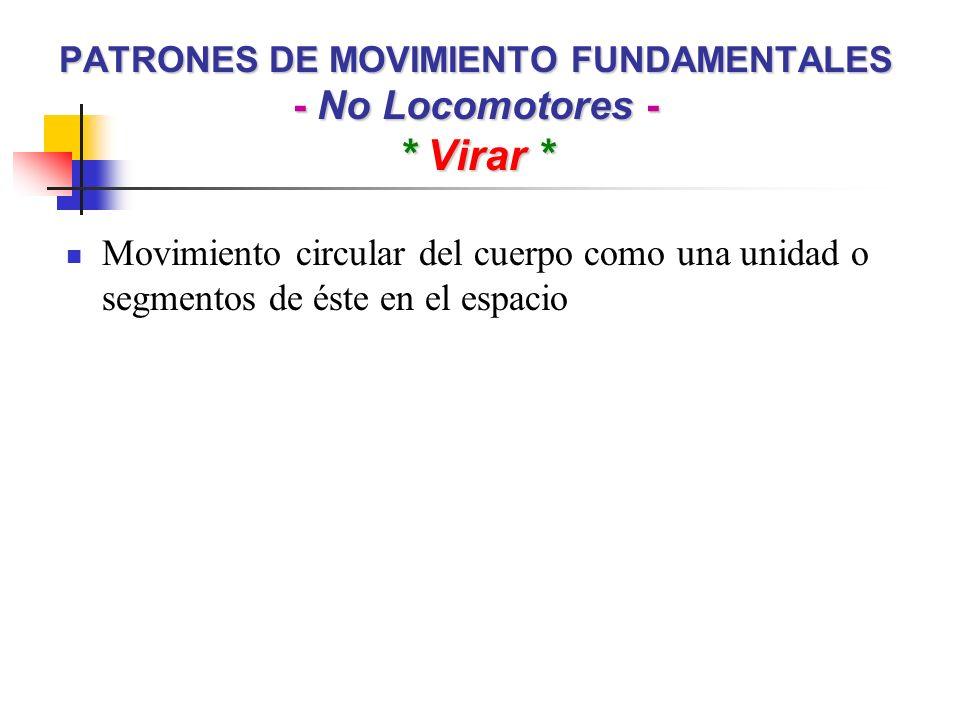 PATRONES DE MOVIMIENTO FUNDAMENTALES - No Locomotores - * Virar * Movimiento circular del cuerpo como una unidad o segmentos de éste en el espacio