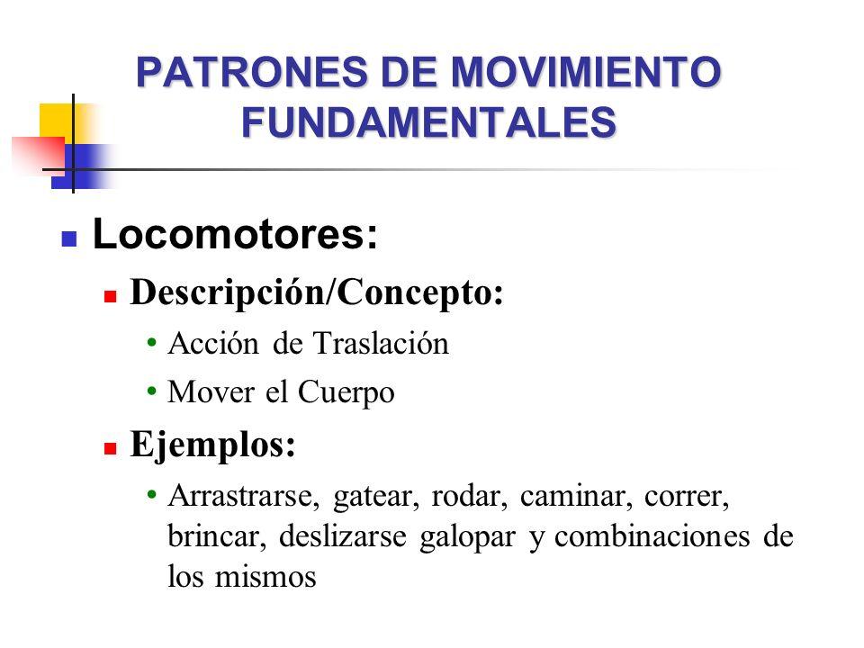 PATRONES DE MOVIMIENTO FUNDAMENTALES Locomotores: Descripción/Concepto: Acción de Traslación Mover el Cuerpo Ejemplos: Arrastrarse, gatear, rodar, cam