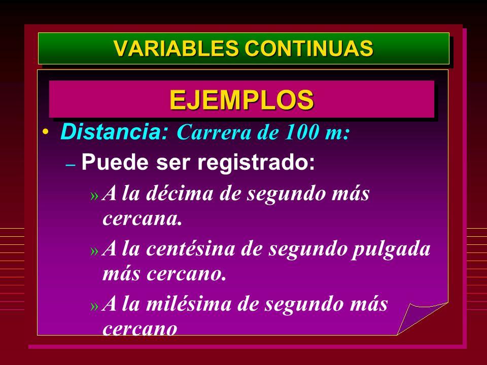 VARIABLES CONTINUAS Distancia: Carrera de 100 m: – Puede ser registrado: » A la décima de segundo más cercana. » A la centésina de segundo pulgada más