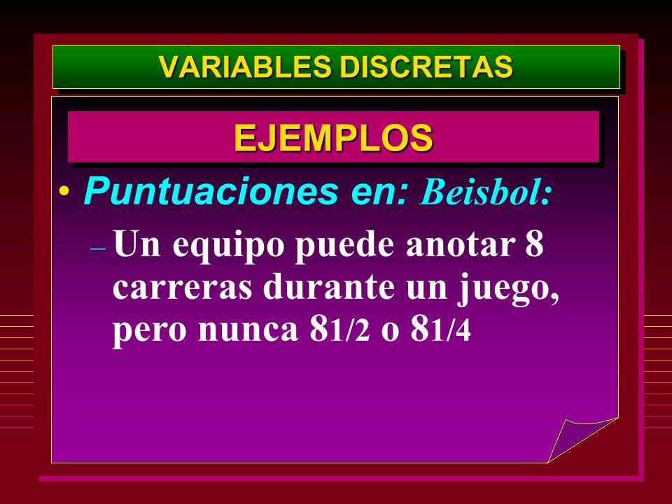 VARIABLES DISCRETAS Puntuaciones en: Beisbol: – Un equipo puede anotar 8 carreras durante un juego, pero nunca 8 1/2 o 8 1/4 EJEMPLOSEJEMPLOS
