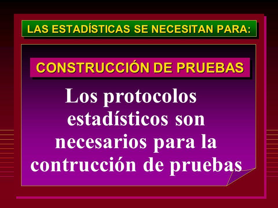 LAS ESTADÍSTICAS SE NECESITAN PARA: CONSTRUCCIÓN DE PRUEBAS Los protocolos estadísticos son necesarios para la contrucción de pruebas
