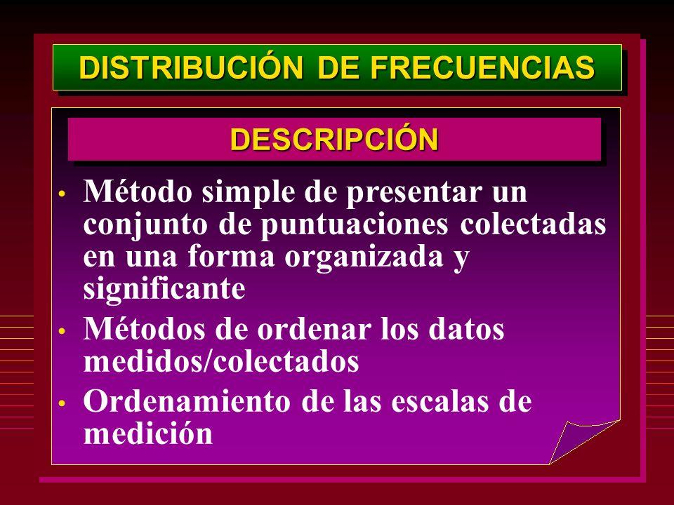 DISTRIBUCIÓN DE FRECUENCIAS Método simple de presentar un conjunto de puntuaciones colectadas en una forma organizada y significante Métodos de ordena