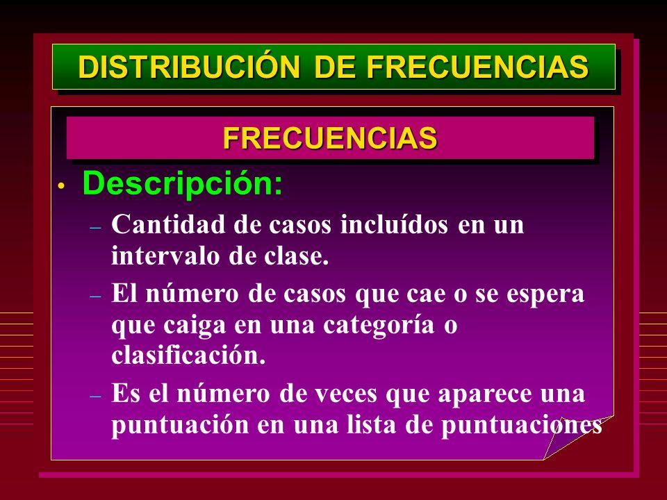DISTRIBUCIÓN DE FRECUENCIAS Descripción: – Cantidad de casos incluídos en un intervalo de clase. – El número de casos que cae o se espera que caiga en