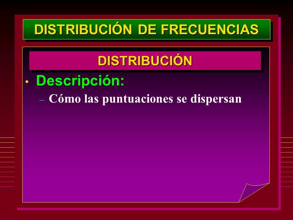 DISTRIBUCIÓN DE FRECUENCIAS Descripción: – Cómo las puntuaciones se dispersan DISTRIBUCIÓNDISTRIBUCIÓN