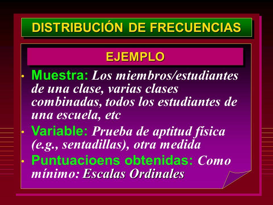 DISTRIBUCIÓN DE FRECUENCIAS Muestra: Los miembros/estudiantes de una clase, varias clases combinadas, todos los estudiantes de una escuela, etc Variab