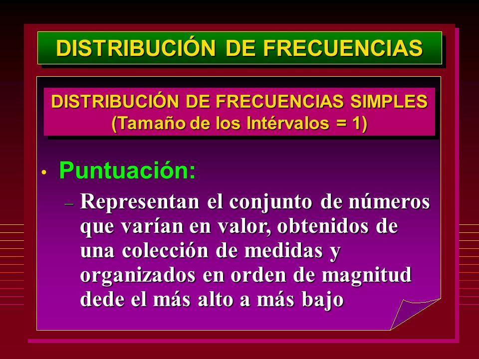 DISTRIBUCIÓN DE FRECUENCIAS Puntuación: – Representan el conjunto de números que varían en valor, obtenidos de una colección de medidas y organizados