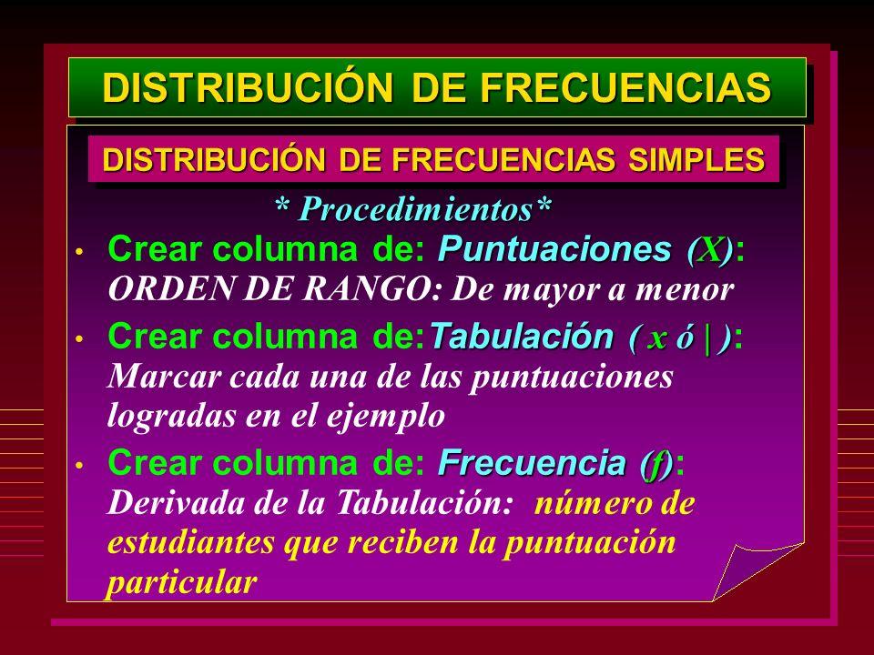 DISTRIBUCIÓN DE FRECUENCIAS Puntuaciones (X) Crear columna de: Puntuaciones (X) : ORDEN DE RANGO: De mayor a menor Tabulación ( x ó | ) Crear columna