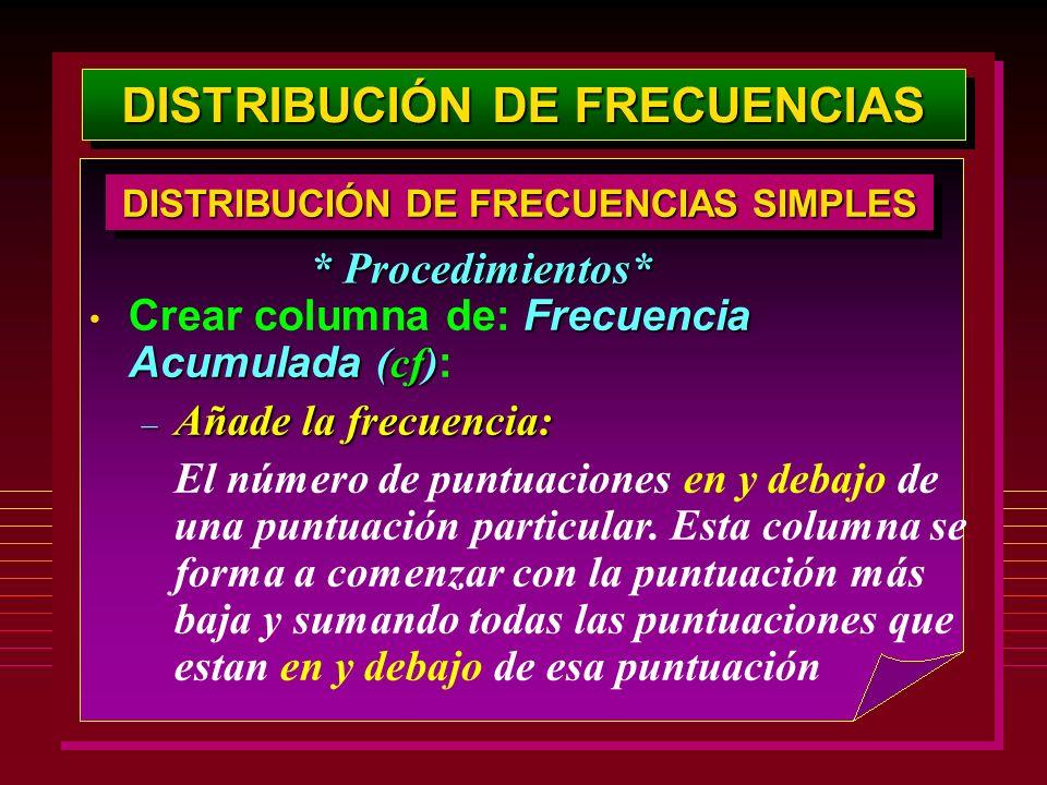 DISTRIBUCIÓN DE FRECUENCIAS Frecuencia Acumulada (cf) Crear columna de: Frecuencia Acumulada (cf) : – Añade la frecuencia: El número de puntuaciones e