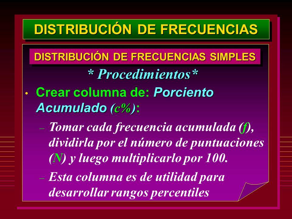 Porciento Acumulado (c%) Crear columna de: Porciento Acumulado (c%) : – Tomar cada frecuencia acumulada (f), dividirla por el número de puntuaciones (