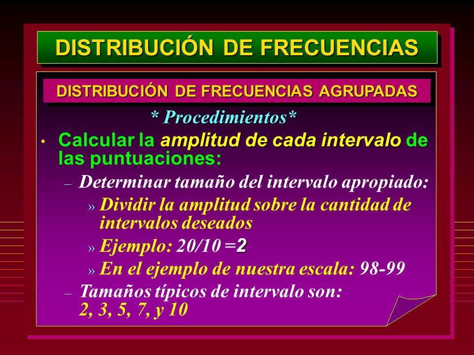 DISTRIBUCIÓN DE FRECUENCIAS amplitud de cada intervalo Calcular la amplitud de cada intervalo de las puntuaciones: – Determinar tamaño del intervalo a