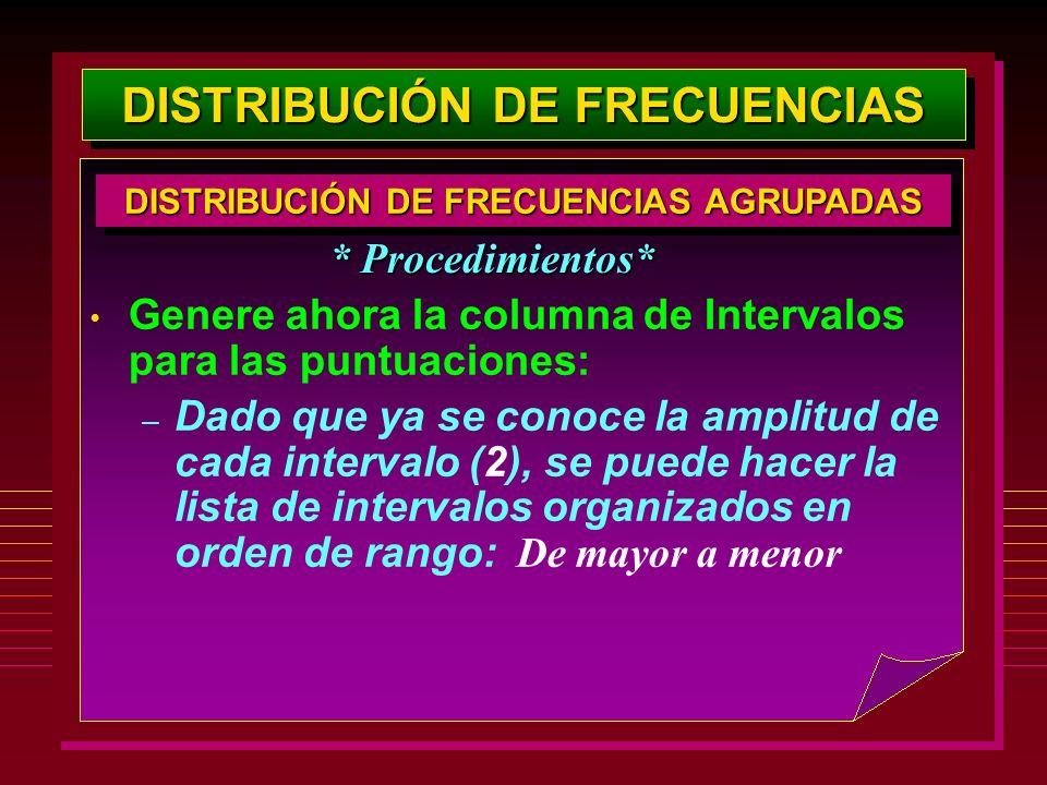 DISTRIBUCIÓN DE FRECUENCIAS Genere ahora la columna de Intervalos para las puntuaciones: – Dado que ya se conoce la amplitud de cada intervalo (2), se