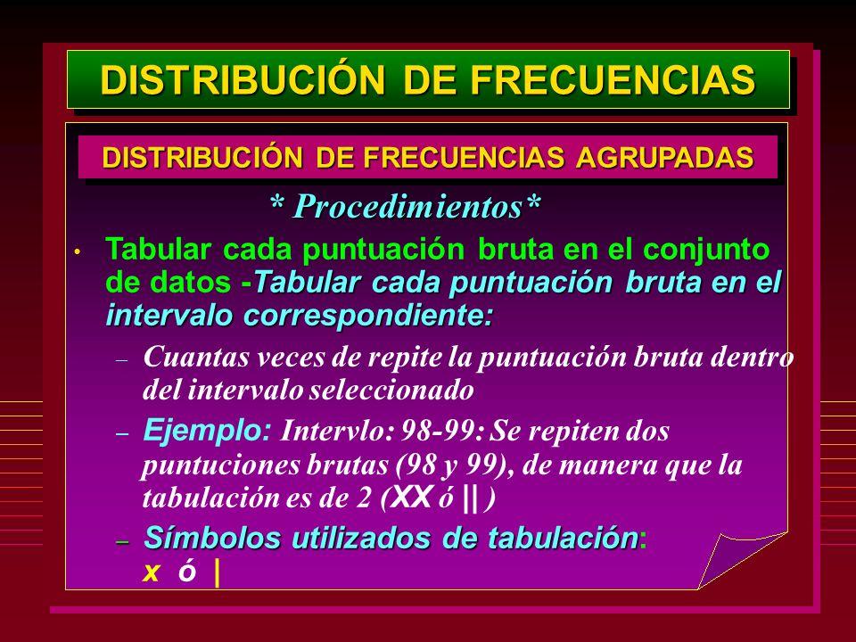 DISTRIBUCIÓN DE FRECUENCIAS Tabular cada puntuación bruta en el intervalo correspondiente: Tabular cada puntuación bruta en el conjunto de datos -Tabu