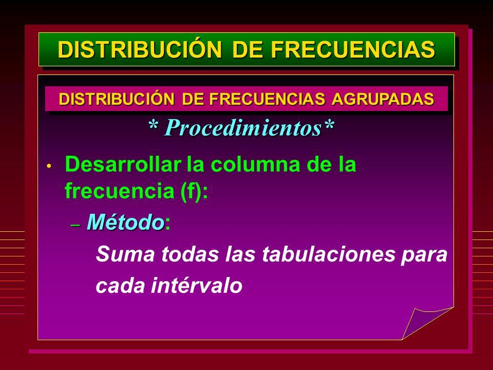 DISTRIBUCIÓN DE FRECUENCIAS Desarrollar la columna de la frecuencia (f): – Método – Método: Suma todas las tabulaciones para cada intérvalo * Procedim